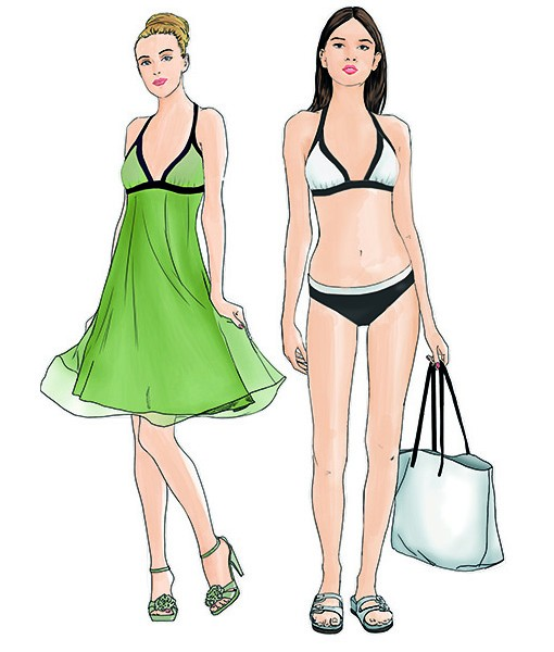 sewing patterns for a bikini and a night dress from supplement 297