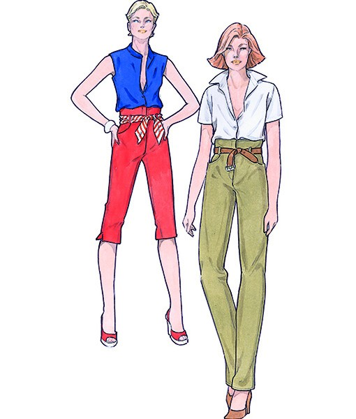 Sewing Patterns for trousers and blouses. Model 13-16 from Supplement 297